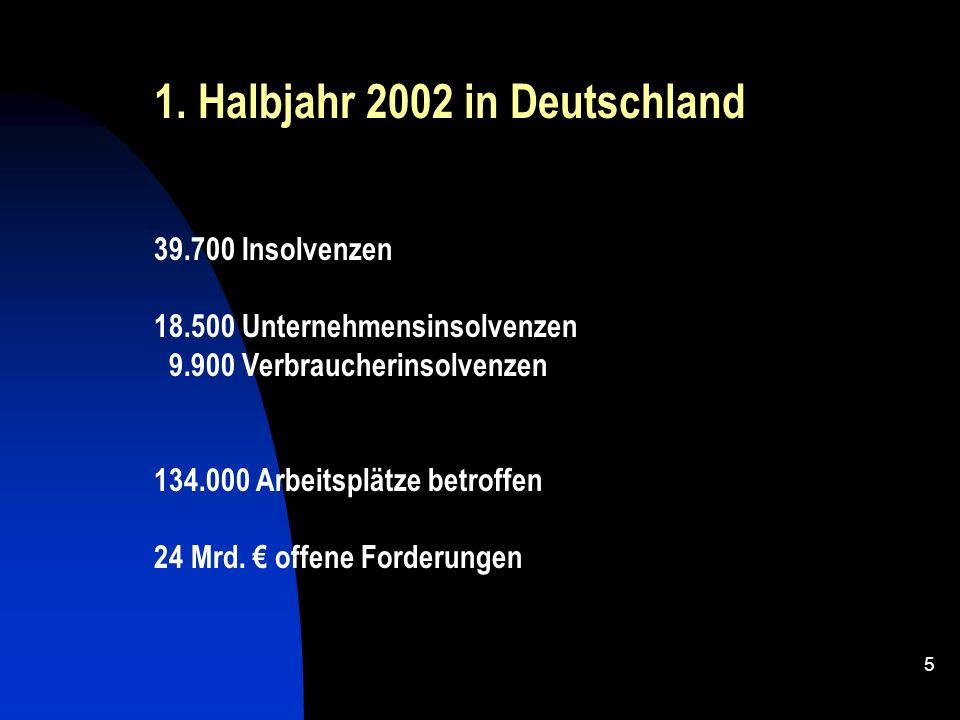 4 Vom 01.01. – 31.03.2002 gab es im Bereich Trier 19 Insolvenzen, das sind 7 mehr als im Vorjahr = + 58 % weiterhin hohe Zuwächse 2001 gingen im Raum