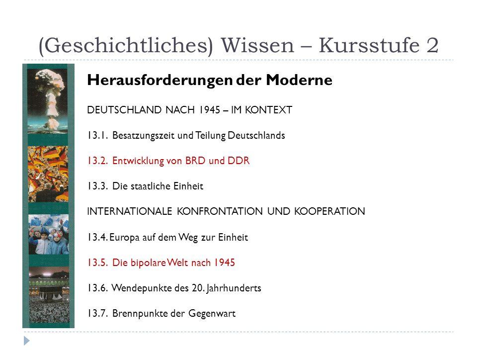 (Geschichtliches) Wissen – Kursstufe 2 DEUTSCHLAND NACH 1945 – IM KONTEXT 13.1. Besatzungszeit und Teilung Deutschlands 13.2. Entwicklung von BRD und