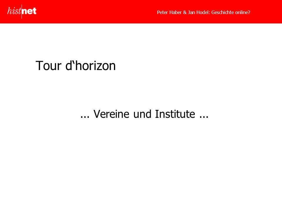 Tour dhorizon... Vereine und Institute...