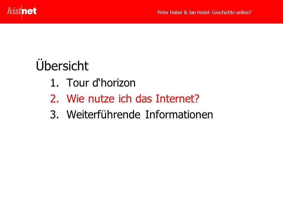 Übersicht 1.Tour dhorizon 2.Wie nutze ich das Internet 3.Weiterführende Informationen