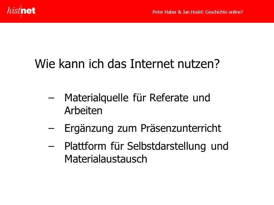 Peter Haber & Jan Hodel: Geschichte online. Wie kann ich das Internet nutzen.