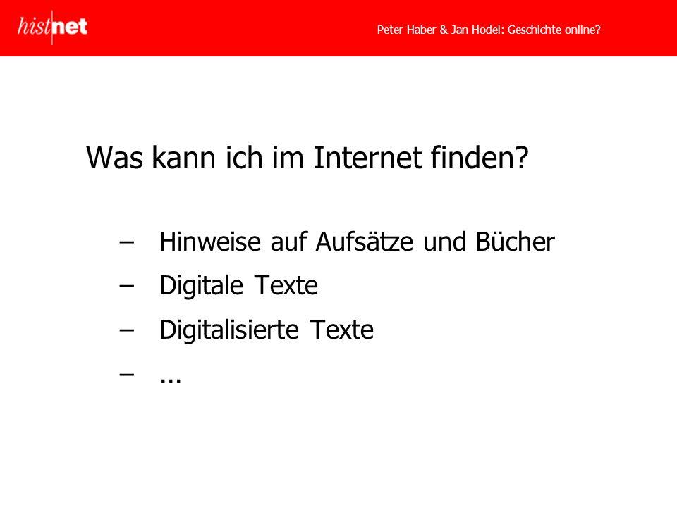 Peter Haber & Jan Hodel: Geschichte online. Was kann ich im Internet finden.