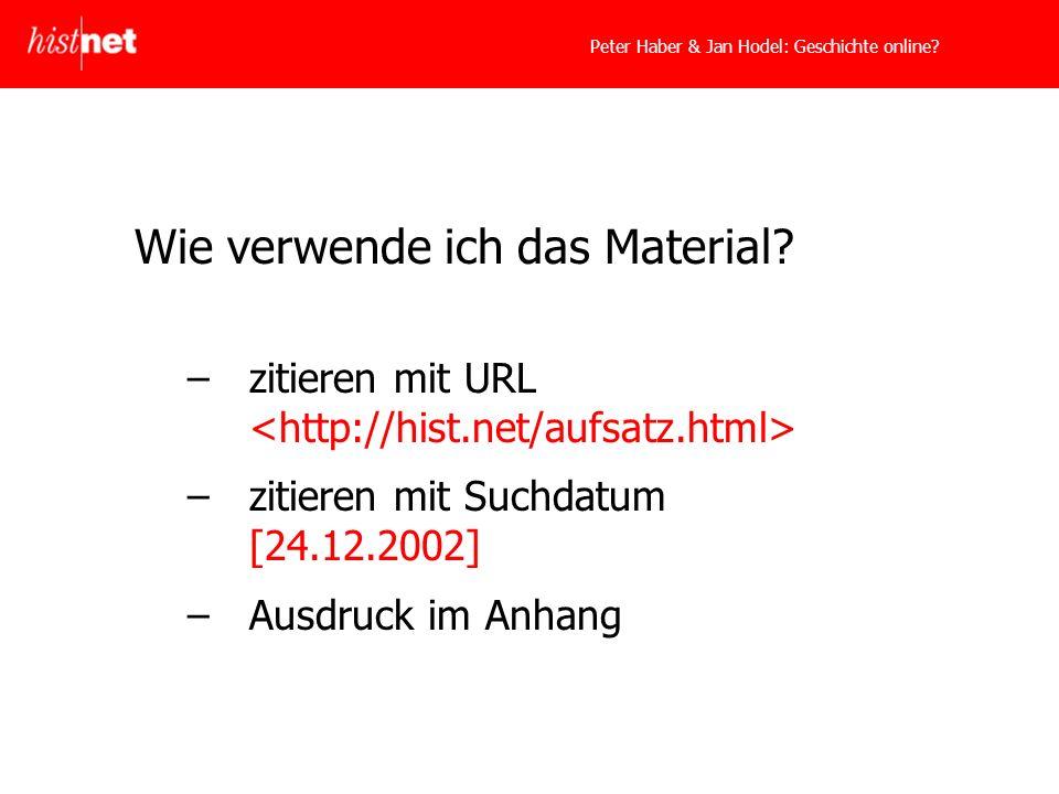Peter Haber & Jan Hodel: Geschichte online. Wie verwende ich das Material.