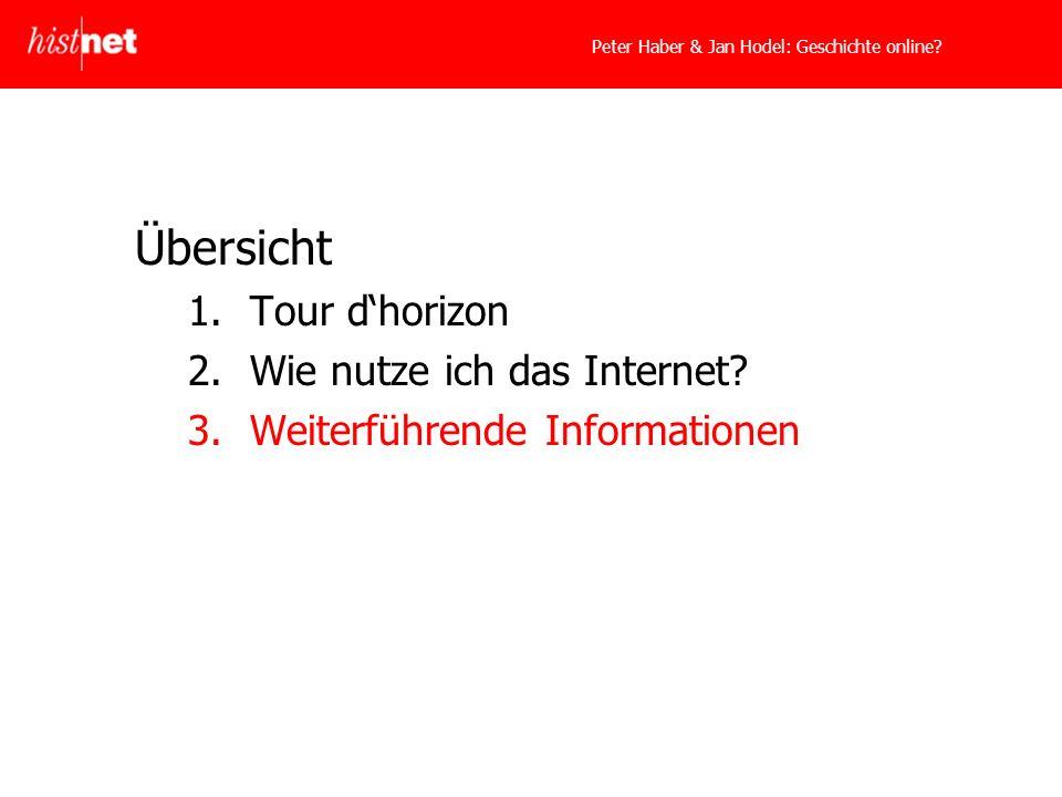 Peter Haber & Jan Hodel: Geschichte online. Übersicht 1.Tour dhorizon 2.Wie nutze ich das Internet.