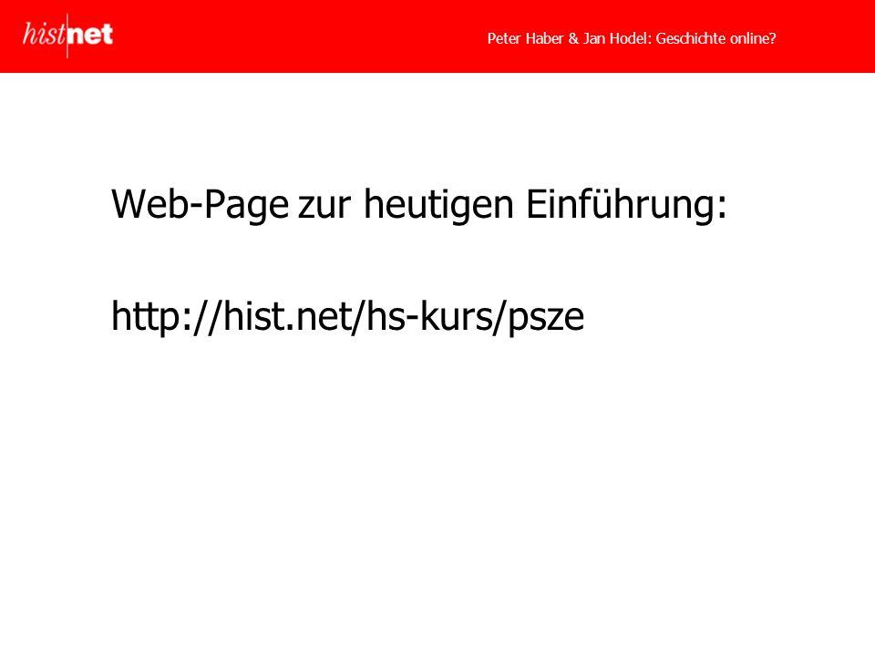 Peter Haber & Jan Hodel: Geschichte online.