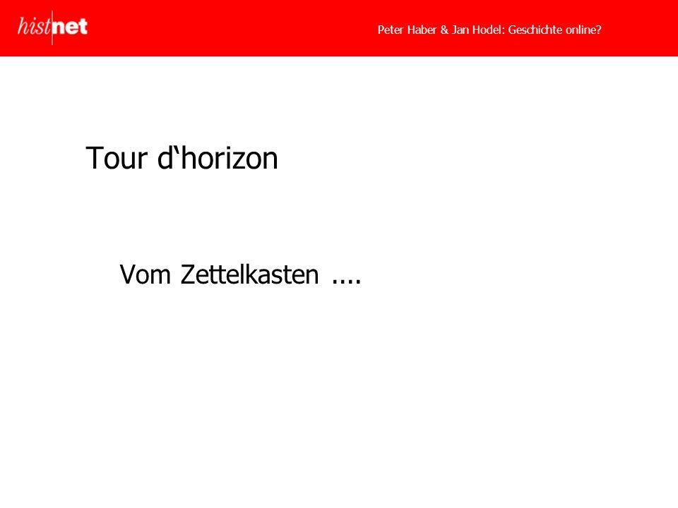 Peter Haber & Jan Hodel: Geschichte online? Tour dhorizon Vom Zettelkasten....