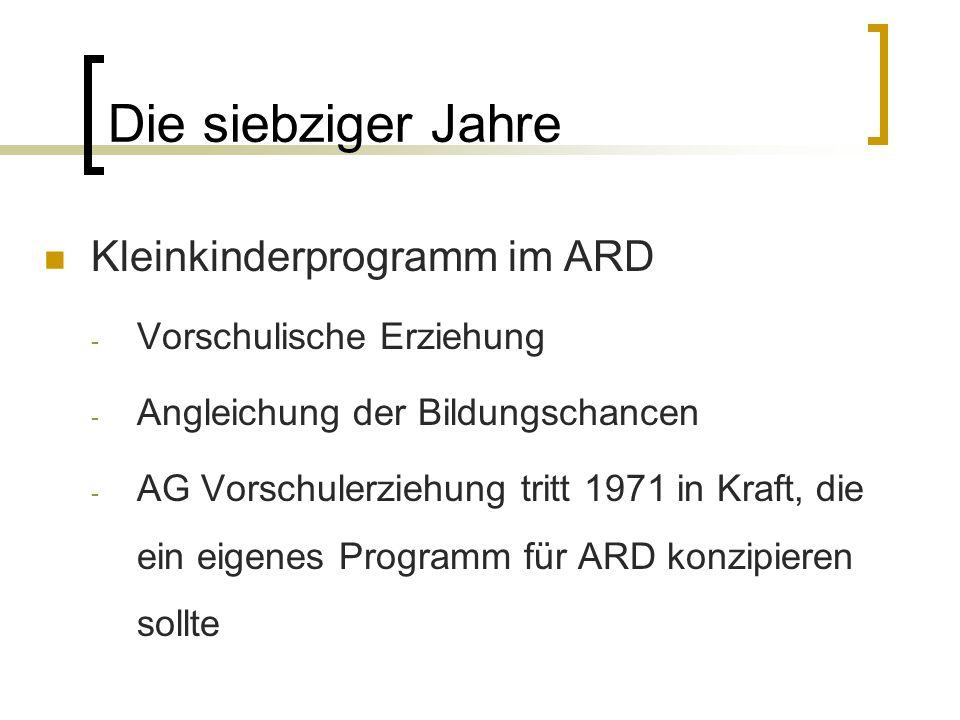 Die siebziger Jahre Kleinkinderprogramm im ARD - Vorschulische Erziehung - Angleichung der Bildungschancen - AG Vorschulerziehung tritt 1971 in Kraft,
