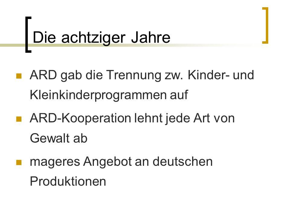 Die achtziger Jahre ARD gab die Trennung zw. Kinder- und Kleinkinderprogrammen auf ARD-Kooperation lehnt jede Art von Gewalt ab mageres Angebot an deu