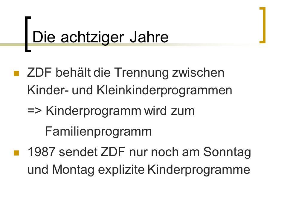 Die achtziger Jahre ZDF behält die Trennung zwischen Kinder- und Kleinkinderprogrammen => Kinderprogramm wird zum Familienprogramm 1987 sendet ZDF nur
