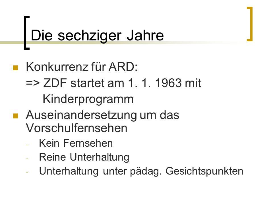 Die sechziger Jahre Konkurrenz für ARD: => ZDF startet am 1. 1. 1963 mit Kinderprogramm Auseinandersetzung um das Vorschulfernsehen - Kein Fernsehen -