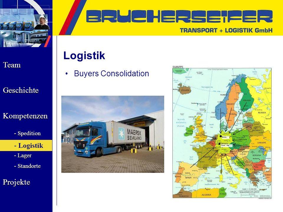 Team Geschichte Kompetenzen - Spedition - Logistik - Lager - Standorte Projekte Logistik Buyers Consolidation Bremen Wissen / Sieg - Logistik