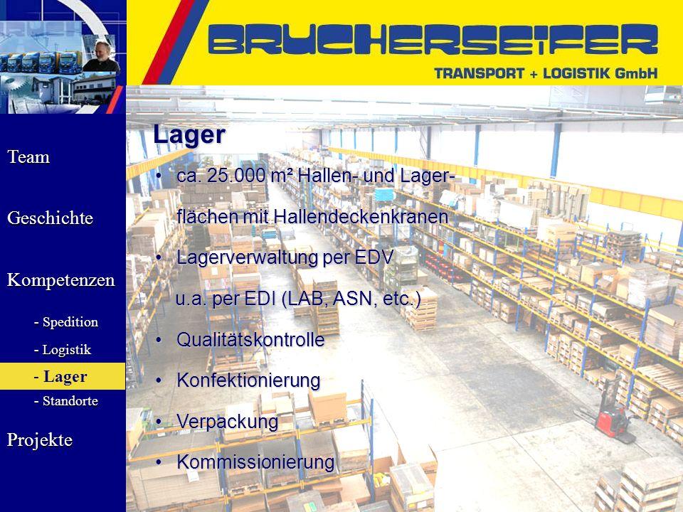Team Geschichte Kompetenzen - Spedition - Logistik - Lager - Standorte Projekte Lager ca. 25.000 m² Hallen- und Lager-ca. 25.000 m² Hallen- und Lager-
