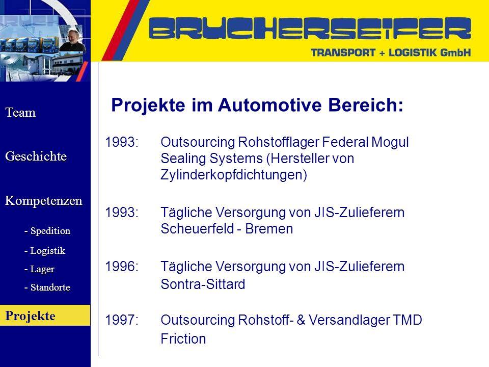 Team Geschichte Kompetenzen - Spedition - Logistik - Lager - Standorte Projekte 1993:Outsourcing Rohstofflager Federal Mogul Sealing Systems (Herstell