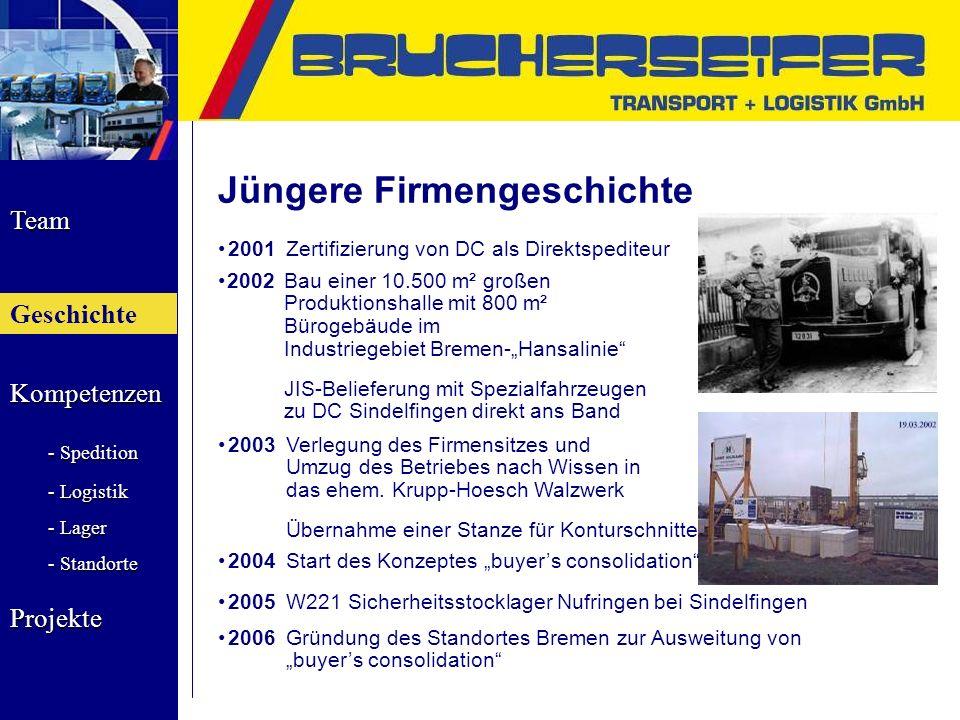 Team Geschichte Kompetenzen - Spedition - Logistik - Lager - Standorte Projekte 2003Verlegung des Firmensitzes und Umzug des Betriebes nach Wissen in