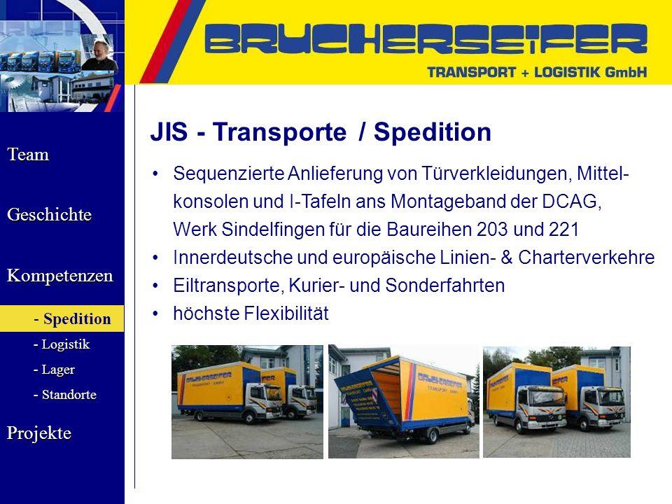 Team Geschichte Kompetenzen - Spedition - Logistik - Lager - Standorte Projekte JIS - Transporte / Spedition Sequenzierte Anlieferung von Türverkleidu