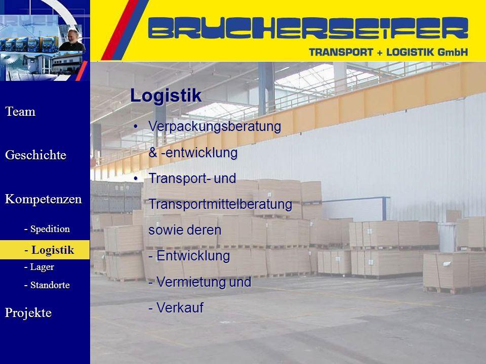 Team Geschichte Kompetenzen - Spedition - Logistik - Lager - Standorte Projekte Logistik VerpackungsberatungVerpackungsberatung & -entwicklung & -entw