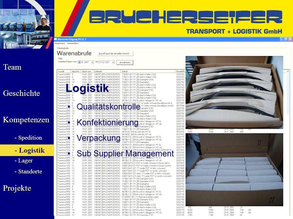 Team Geschichte Kompetenzen - Spedition - Logistik - Lager - Standorte Projekte Logistik QualitätskontrolleQualitätskontrolle KonfektionierungKonfekti