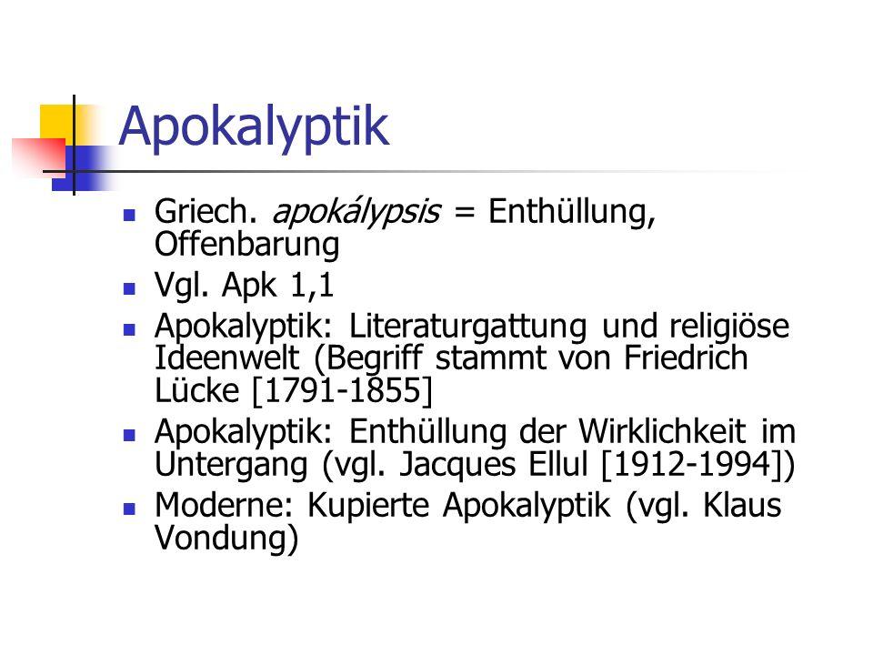 Christentum und Apokalyptik Ernst Käsemann (1906-1998): Apokalyptik, die Mutter aller christlichen Theologie Aufhebung der Apokalyptik im Christentum Weltbejahung, die durch Weltverneinung hindurchgegangen ist (vgl.
