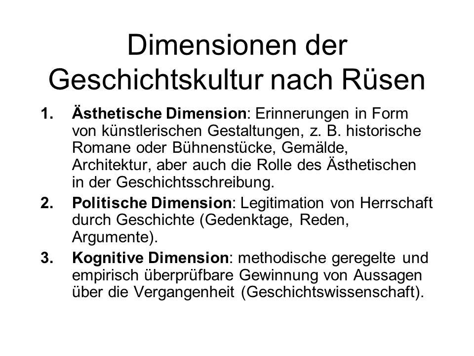Dimensionen der Geschichtskultur nach Rüsen 1.Ästhetische Dimension: Erinnerungen in Form von künstlerischen Gestaltungen, z. B. historische Romane od