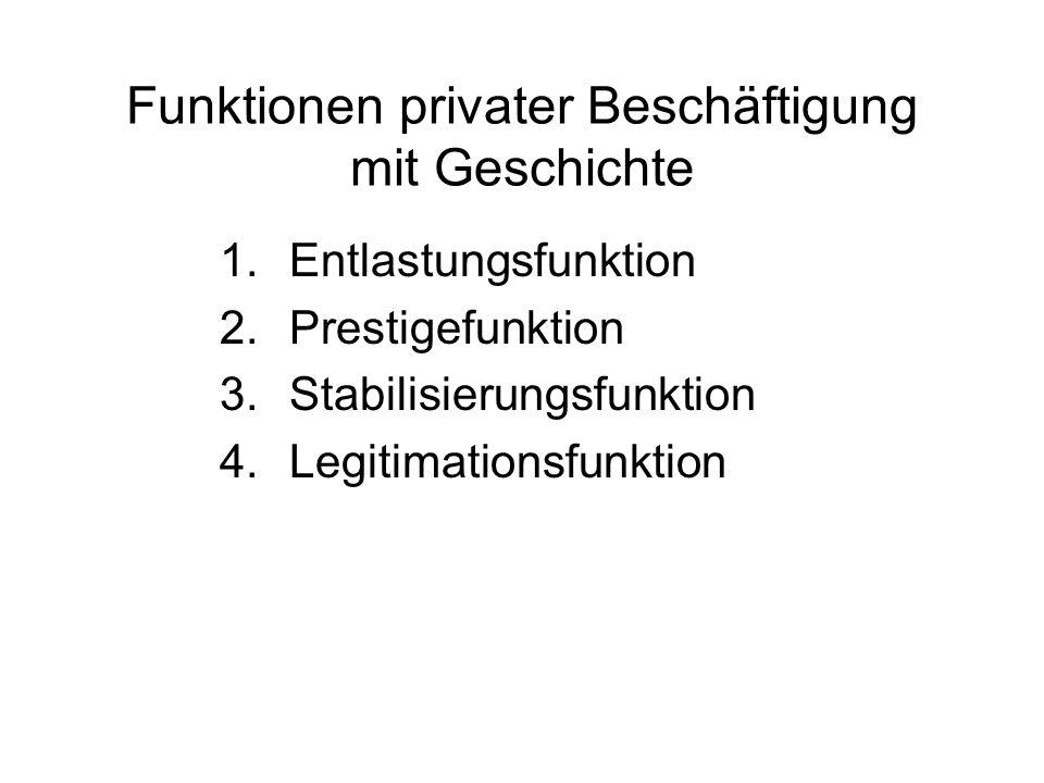 Funktionen privater Beschäftigung mit Geschichte 1.Entlastungsfunktion 2.Prestigefunktion 3.Stabilisierungsfunktion 4.Legitimationsfunktion