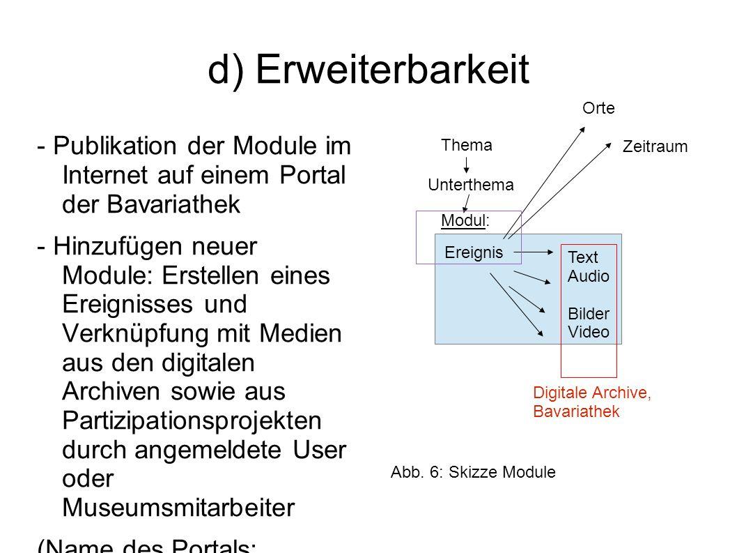 d) Erweiterbarkeit - Publikation der Module im Internet auf einem Portal der Bavariathek - Hinzufügen neuer Module: Erstellen eines Ereignisses und Ve