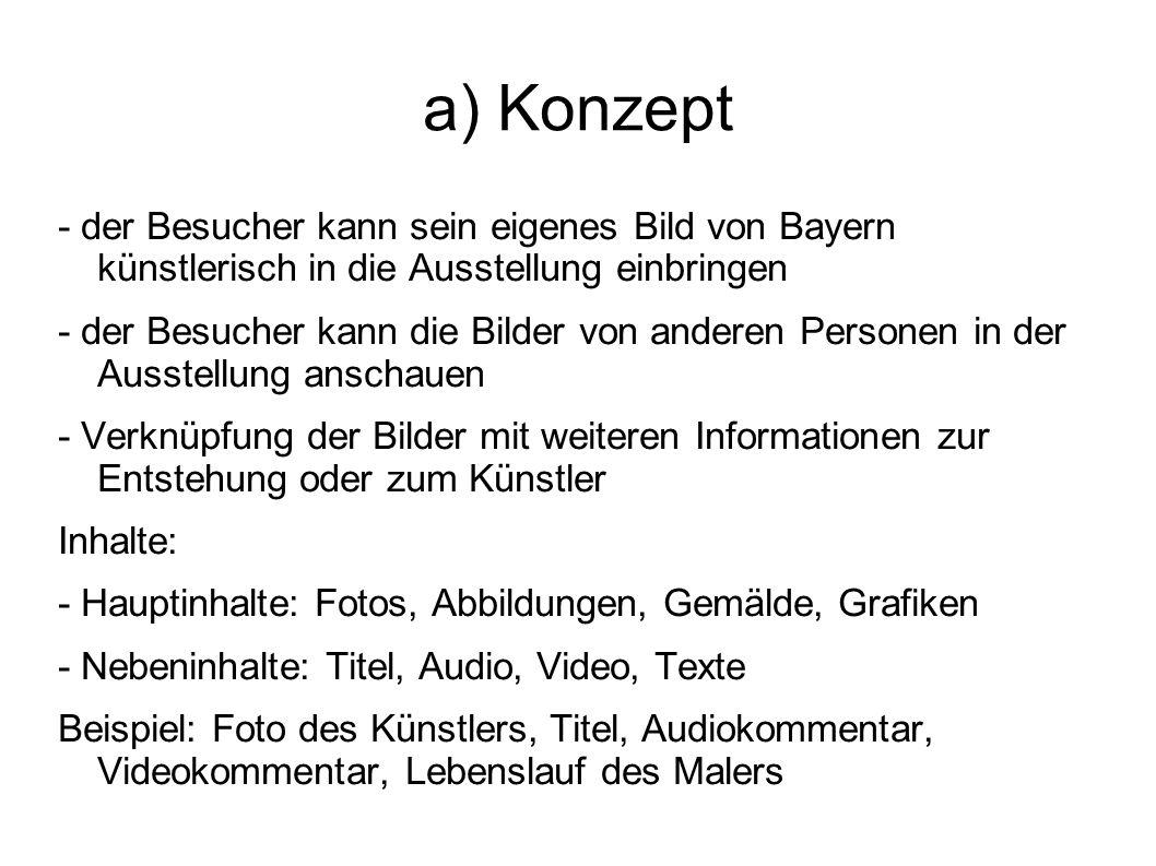 a) Konzept - der Besucher kann sein eigenes Bild von Bayern künstlerisch in die Ausstellung einbringen - der Besucher kann die Bilder von anderen Pers