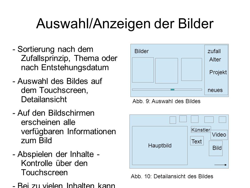 Auswahl/Anzeigen der Bilder - Sortierung nach dem Zufallsprinzip, Thema oder nach Entstehungsdatum - Auswahl des Bildes auf dem Touchscreen, Detailans