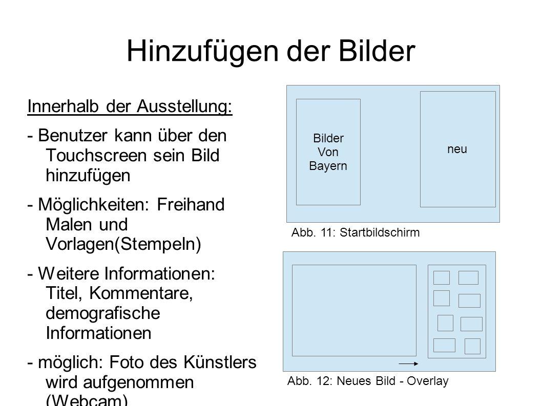 Hinzufügen der Bilder Außerhalb der Ausstellung: - Inhalte können professionell extern oder intern erstellt werden - qualitativ hochwertigere Informationen und Inhalte werden hinzugefügt - Beispiel: Projekte, Wettbewerbe (Pressefoto Bayern), Zeitzeugen-Interview, Videos