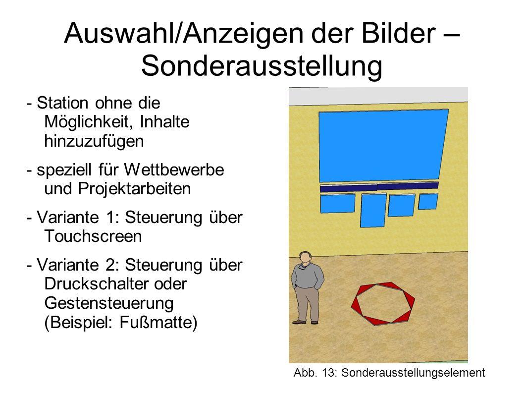 c) Gimmicks - kleinere spielerische Stationen zum längeren Verweilen - zum Teil Wiederverwertung der Inhalte der Station Mein Bild von Bayern - Kommunikation der Besucher untereinander Gimmick, der oder das: etwas möglichst Ungewöhnliches, Auffallendes, was die Aufmerksamkeit auf ein bestimmtes Produkt, auf eine wichtige Aussage der Werbung für ein Produkt lenkt; Werbegag (Definition Gimmick auf duden.de URL: http://www.duden.de/rechtschreibung/Gimmick).