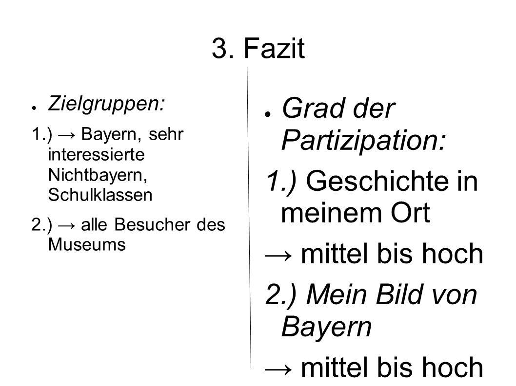 3. Fazit Zielgruppen: 1.) Bayern, sehr interessierte Nichtbayern, Schulklassen 2.) alle Besucher des Museums Grad der Partizipation: 1.) Geschichte in