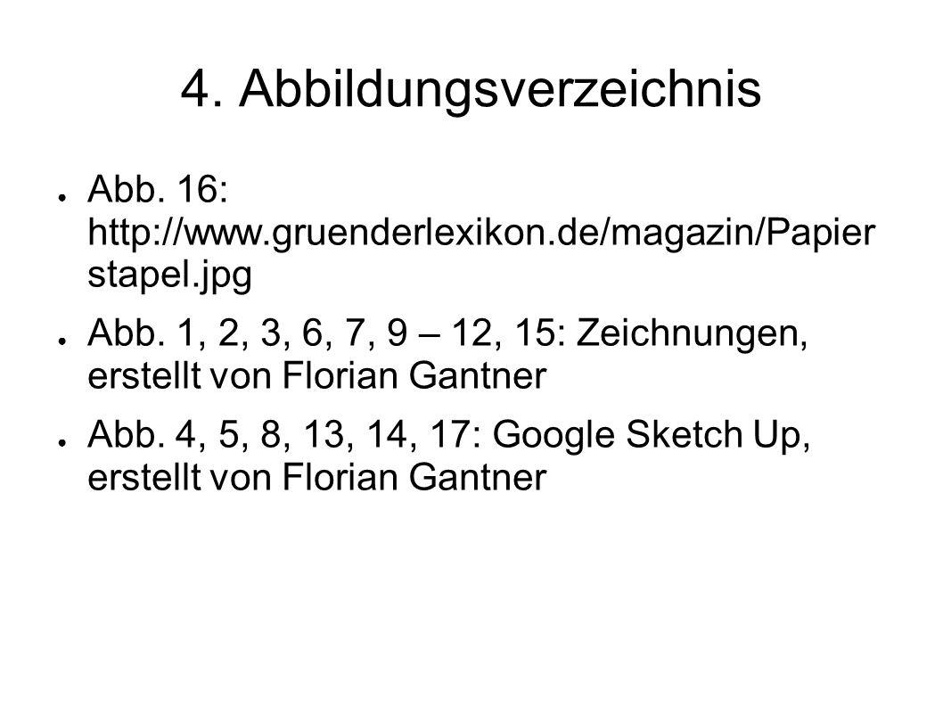 4. Abbildungsverzeichnis Abb. 16: http://www.gruenderlexikon.de/magazin/Papier stapel.jpg Abb. 1, 2, 3, 6, 7, 9 – 12, 15: Zeichnungen, erstellt von Fl