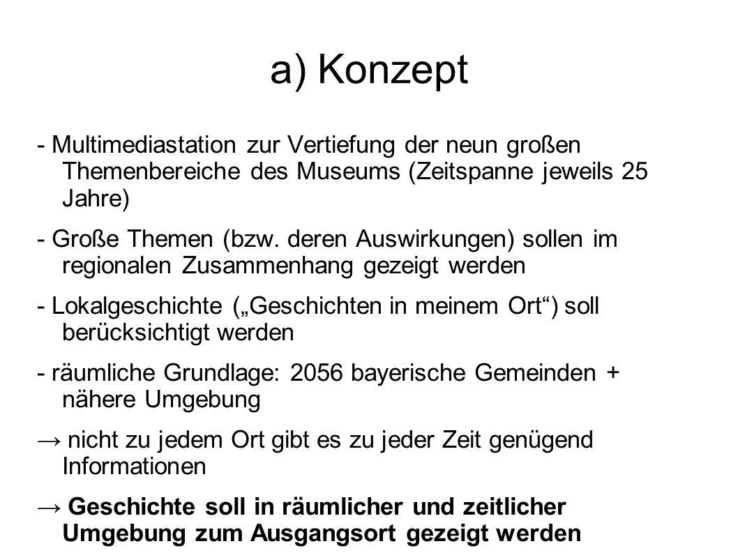 a) Konzept - Multimediastation zur Vertiefung der neun großen Themenbereiche des Museums (Zeitspanne jeweils 25 Jahre) - Große Themen (bzw. deren Ausw