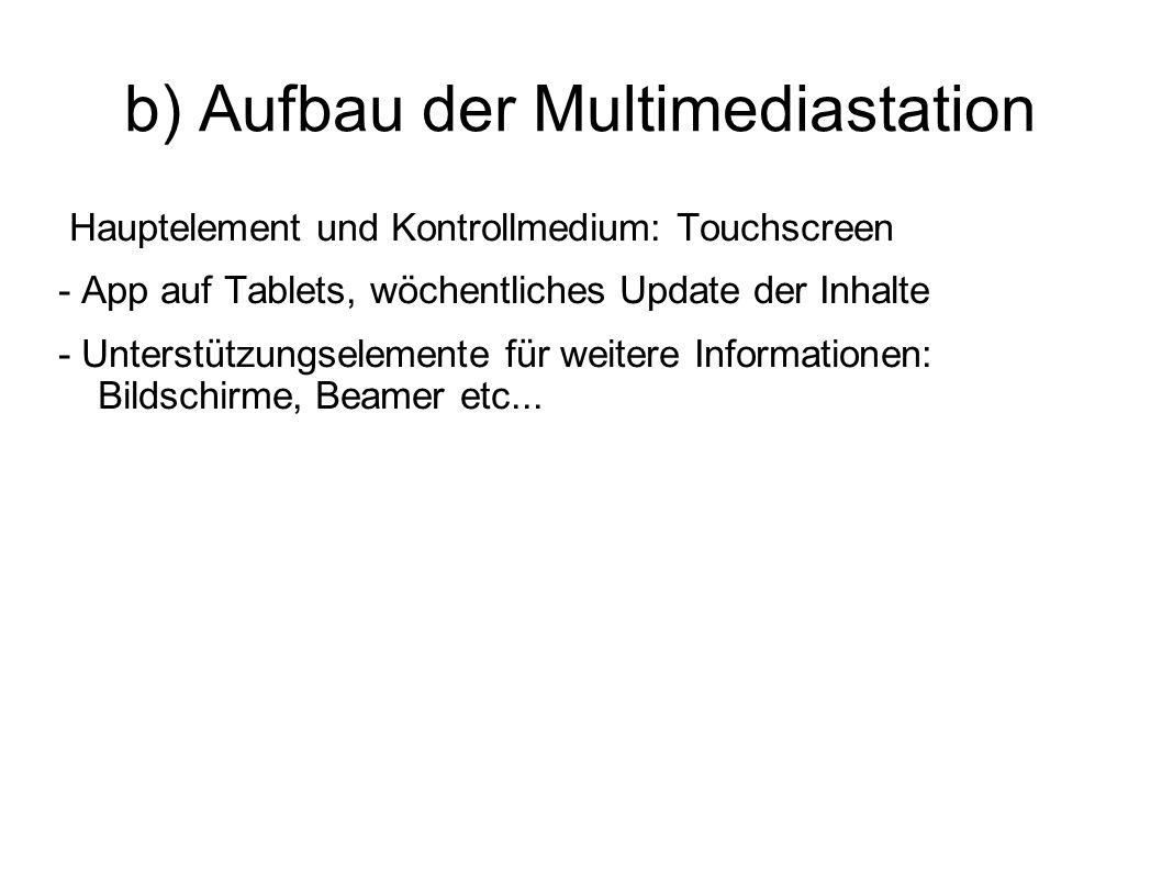 b) Aufbau der Multimediastation Hauptelement und Kontrollmedium: Touchscreen - App auf Tablets, wöchentliches Update der Inhalte - Unterstützungseleme