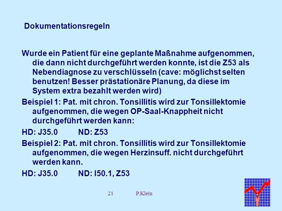 21P.Klein Dokumentationsregeln Wurde ein Patient für eine geplante Maßnahme aufgenommen, die dann nicht durchgeführt werden konnte, ist die Z53 als Ne