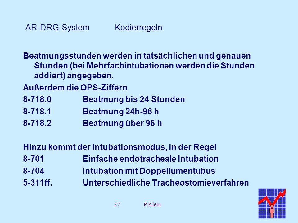 27P.Klein AR-DRG-System Kodierregeln: Beatmungsstunden werden in tatsächlichen und genauen Stunden (bei Mehrfachintubationen werden die Stunden addier