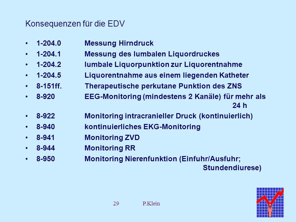 29P.Klein Konsequenzen für die EDV 1-204.0Messung Hirndruck 1-204.1Messung des lumbalen Liquordruckes 1-204.2lumbale Liquorpunktion zur Liquorentnahme