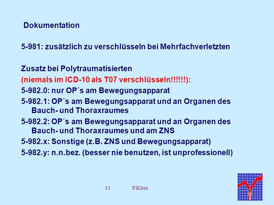 33P.Klein Dokumentation 5-981: zusätzlich zu verschlüsseln bei Mehrfachverletzten Zusatz bei Polytraumatisierten (niemals im ICD-10 als T07 verschlüss