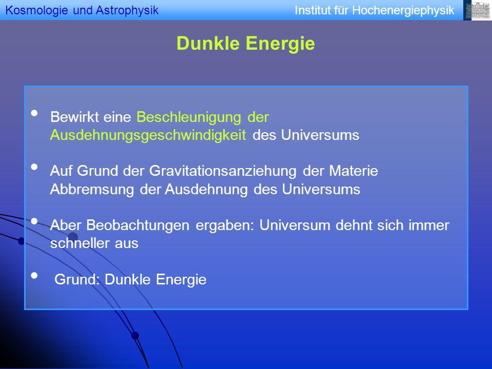 Institut für Hochenergiephysik Dunkle Energie Bewirkt eine Beschleunigung der Ausdehnungsgeschwindigkeit des Universums Auf Grund der Gravitationsanzi