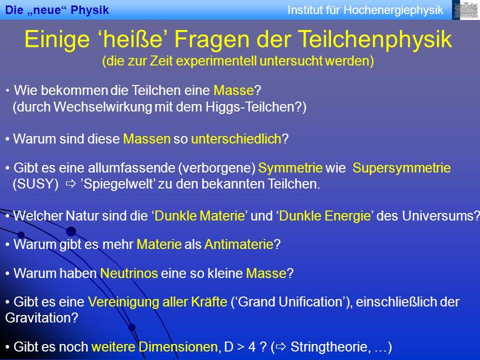 Institut für Hochenergiephysik Einige heiße Fragen der Teilchenphysik (die zur Zeit experimentell untersucht werden) Wie bekommen die Teilchen eine Ma
