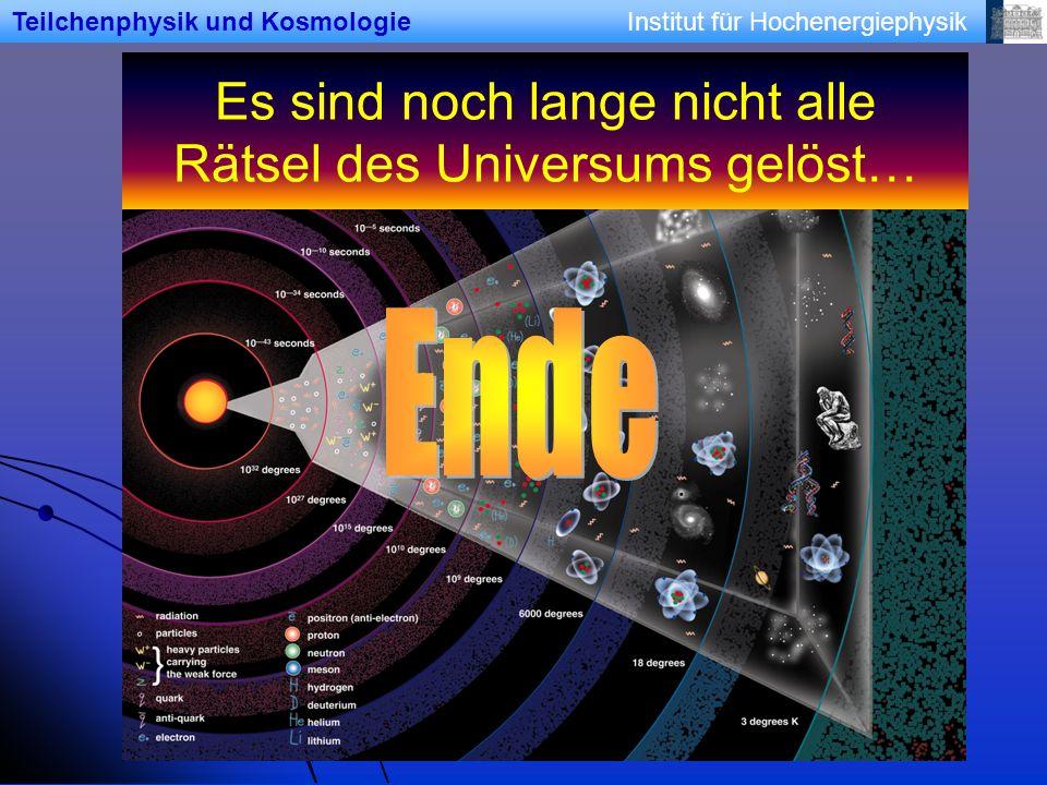 Institut für HochenergiephysikTeilchenphysik und Kosmologie Es sind noch lange nicht alle Rätsel des Universums gelöst…