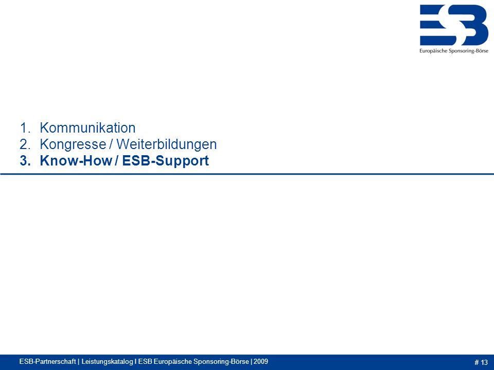 # 13 1.Kommunikation 2.Kongresse / Weiterbildungen 3.Know-How / ESB-Support ESB-Partnerschaft | Leistungskatalog I ESB Europäische Sponsoring-Börse | 2009
