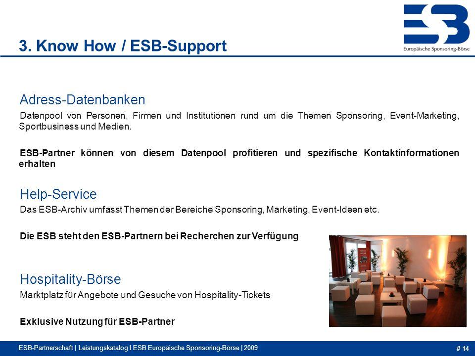 # 14 ESB-Partnerschaft | Leistungskatalog I ESB Europäische Sponsoring-Börse | 2009 Adress-Datenbanken Datenpool von Personen, Firmen und Institutionen rund um die Themen Sponsoring, Event-Marketing, Sportbusiness und Medien.