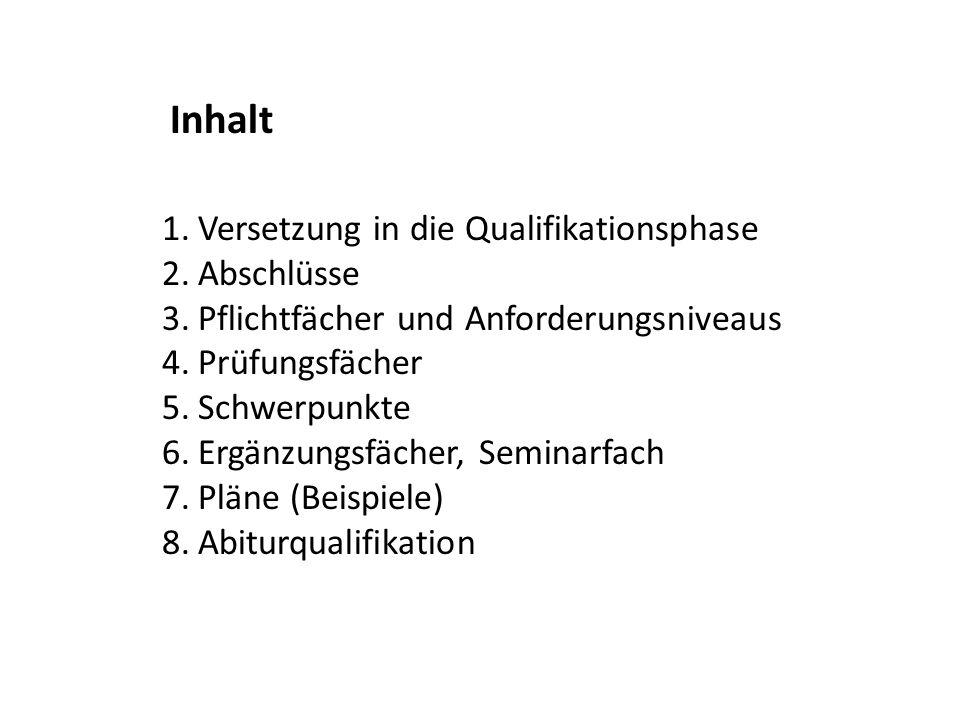 1.Versetzung in die Qualifikationsphase 2.Abschlüsse 3.Pflichtfächer und Anforderungsniveaus 4.Prüfungsfächer 5.Schwerpunkte 6.Ergänzungsfächer, Semin