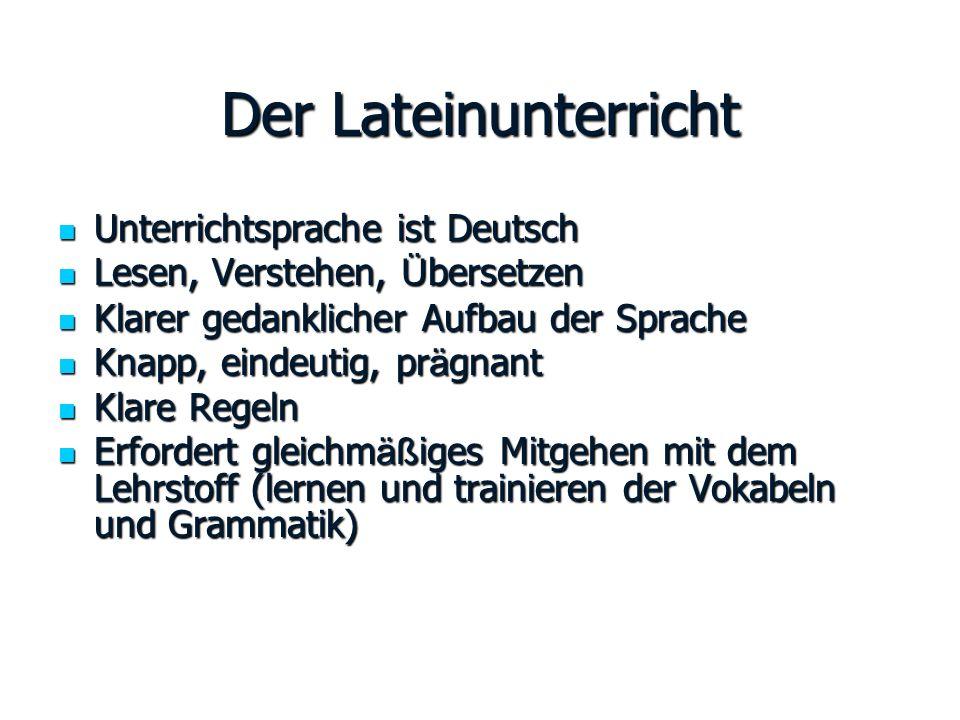 Der Lateinunterricht Unterrichtsprache ist Deutsch Unterrichtsprache ist Deutsch Lesen, Verstehen, Ü bersetzen Lesen, Verstehen, Ü bersetzen Klarer ge