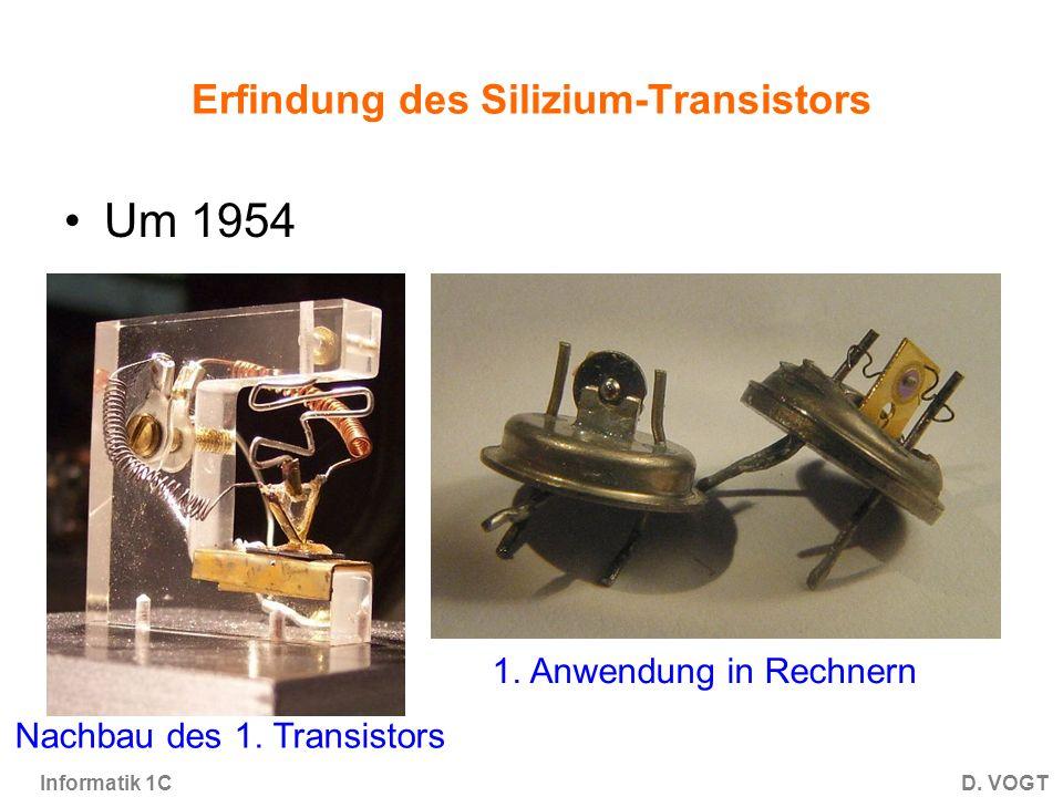 Informatik 1CD.VOGT Erfindung des Silizium-Transistors Um 1954 Nachbau des 1.