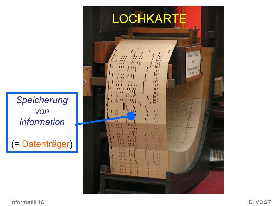 Informatik 1CD. VOGT Speicherung von Information (= Datenträger) LOCHKARTE