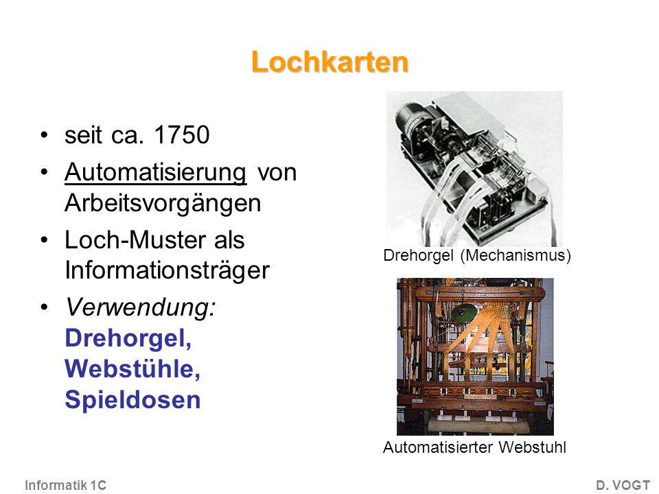 Informatik 1CD.VOGT Lochkarten seit ca.