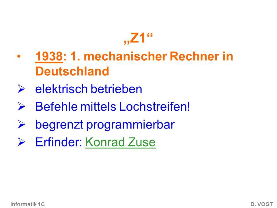 Informatik 1CD.VOGT Z1 1938: 1.