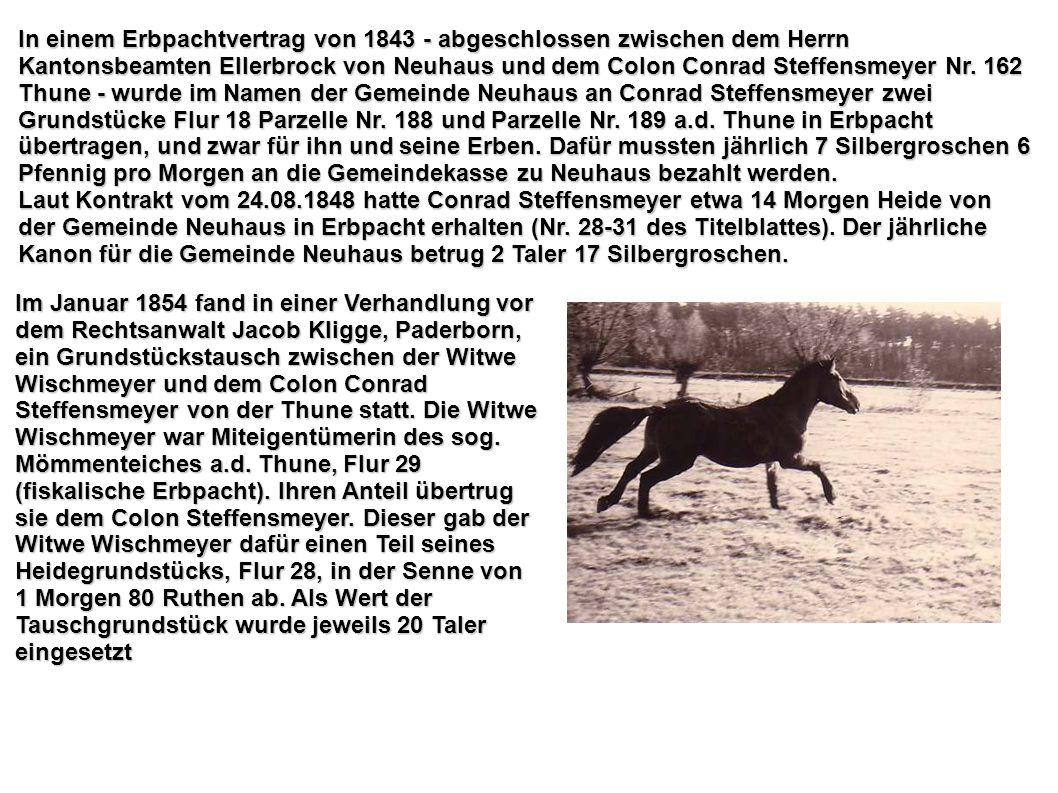 In einem Erbpachtvertrag von 1843 - abgeschlossen zwischen dem Herrn Kantonsbeamten Ellerbrock von Neuhaus und dem Colon Conrad Steffensmeyer Nr. 162