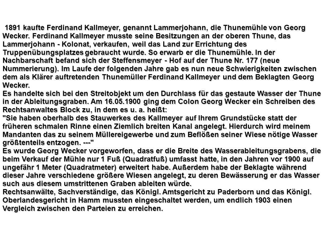 1891 kaufte Ferdinand Kallmeyer, genannt Lammerjohann, die Thunemühle von Georg Wecker. Ferdinand Kallmeyer musste seine Besitzungen an der oberen Thu